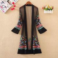 Buy cheap Mesh Floral Embroidered Long Cover-ups Kimono product