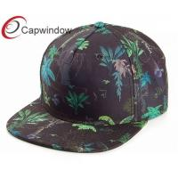 Buy quality Black Polyester Custom Strapback with Jungle Printing Pattern/Sports Snapback Hat at wholesale prices
