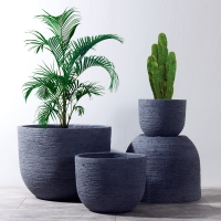 Buy cheap Weathered Garden Pots Clay Flower Pots Resin Outdoor Plant Pots Gray Color Flower Pots product