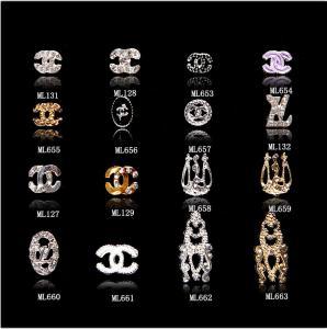 3D Brand Logo CC  Alloy Jewelry Nail Art Decoration Glitter Rhinestones Slice G ML653-663