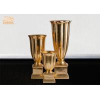 Buy cheap Gold Leafed Fiberglass Table Vases Homewares Decorative Items Trumpet Floor Vases product