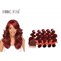 Buy cheap No Tangle Body Wave Indian Hair Bundles With Closure 99# Color Remy 4'*4' product