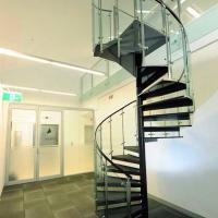 Buy cheap Customized Tempered Glass Tread Spiral Staircase with Glass Railing product