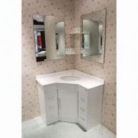 China White Corner Modern Bathroom Vanity with Hardware Buffer Hinges, Handles and Drawers on sale