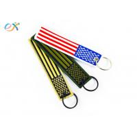 Buy cheap Polyester Custom Embroidered Keychain Rectangle Shape With Merrow Border product