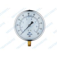 Buy cheap Steel Chrome Ring General Pressure Gauge With Black Steel Case , Brass Connector product