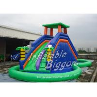 Buy quality Home Party Water Pool Slide Rental Inflatable Green , Blow Up Water Slides at wholesale prices