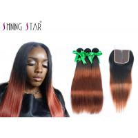 Buy cheap Ombre Dark Roots Indian Hair Bundles With Closure No Chemical Process product