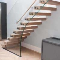 Buy cheap Villa indoor floating solid wood tread open stairs/staircases timber floating stair product