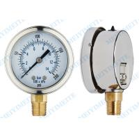 Buy cheap 2.5 Inch phosphor bronze tube fluid filled pressure gauge with brass connector product
