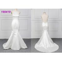 Buy cheap Micado A Line Halter White Mermaid Wedding Dress Spring Modern Bridal Wear from wholesalers
