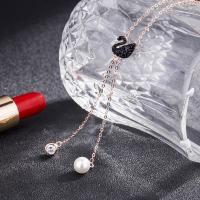 Buy cheap 925 Silver Swarovski Black Swan Drop Pendant Sweater Chain Necklace from wholesalers