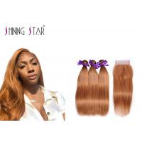 Buy cheap Gold Blonde 100% Peruvian Straight Hair Bundles Colored 30 Double Weft Cheap product