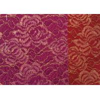 Buy cheap Red Golden Embroidery Sequin Lingerie Lace Fabric For Wedding Dress , Decoration Lace Fabric product