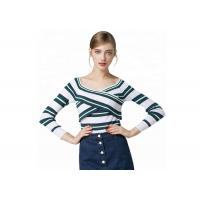 China Sexy Lady Cozy Knit Sweater Long Sleeve V Collar Pullover With Striped Pattern on sale