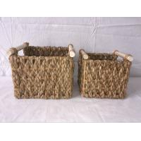 Buy cheap Beachcomber utility basket, set of 2 rectangle basket, rush woven box with wood from wholesalers