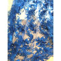 Buy cheap 3D Rhinestone Beaded Tulle Fabric , Embroidered Royal Blue Lace Fabric For Bridal Gown product