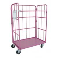 China Metallic Folding Roll Cage Trolley Bright Electro Zinc Plated Finish on sale