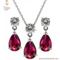 Buy quality High quality enthusiastic Brass Jewelry set with dangling Garnet and clear round CZ stones at wholesale prices