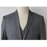 Buy cheap Stripe Mens Light Gray 3 Piece Suit Worsted Wool Flat Pocket Japanese Style product