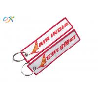 Buy cheap Letter Embroidered KeychainTag Rectangle Shape Twill Background Fabric product