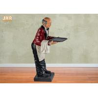 Buy cheap 145cm Height Antique Polyresin Statue Figurine Resin Butler Holding A Plastic Tray product