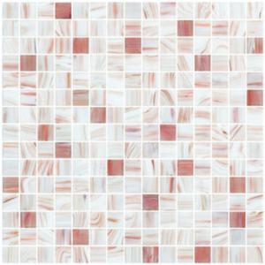 Plain white with gold line glass mosaic mix pattern square kitchen backspalsh