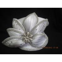 Buy quality Satin Braid Ladies White Church Hats , Mushroom Crown With Small Peaks Shape at wholesale prices