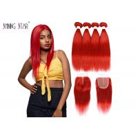 Buy cheap Red Brazilian Straight Hair Bundles With Closure Colored 99J Burgundy Bundles product