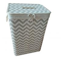 Buy cheap foldable bamboo laundry basket with beautiful pattern,removable liner, rectangle shape product