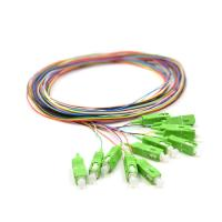 Buy cheap 0.9mm Pigtail Single Mode , 1m SC APC Single Mode Pigtail 12 Core For FTTx Network product