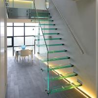 Buy cheap Straight Mild Steel Glass Modern Floating Staircase / Prefab Steel Glass Stair Indoor product