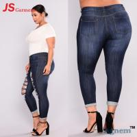 China High Waist Rip Jeans Pants Plus Size Wide Style For Overweight Person on sale