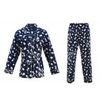Buy cheap 100% Cotton Flannel Womens Button Up Pajama Sets With Piping And Long Pants product