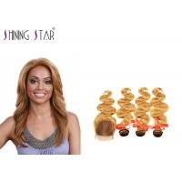 Buy cheap Gold Blonde Body Curly Indian Hair Bundles Weave No Tangle Shedding Color 27 product