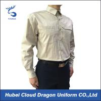 Men Long Sleeve Security Guard Uniform Shirts With Zip Chest Pocket