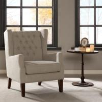 Lounge Arm Accent Chair , Cream Occasional Chair With Solid Frame Construction