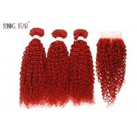 Buy cheap Red Brazilian Kinky Curly Human Hair Bundles Extension With Closure product