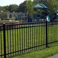 Galvanized Steel Fence Tubular Picket Fence With Flat Top