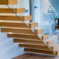 Buy cheap Prefab house floating stair /wooden contemporary staircases/Straight flight staircases product