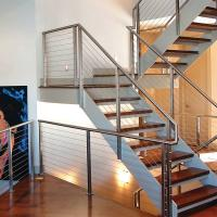 Buy cheap 304 Polished Stainless Steel or Black Cast iron Hidden Double Stringers Support Straight Staircase product