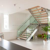 Buy cheap 304 s.s Double Steel Stringer Straight Glass Railing Staircase with Wooden Tread product