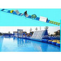 Blue White Outdoor Inflatable Water Park For Lake , Inflatable Water Trampoline