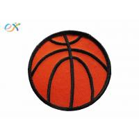 Buy cheap Twill Background Fabric Embroidered Sports Patches  Orange / Red Color product