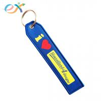 Buy cheap Fashionable Custom Fabric Keyrings , Blue Bottom Rectangle Woven Key Tag product