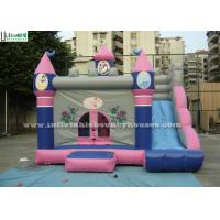 Outdoor Pink Bouncy Castles Inflatable Combo With Slide For Kids / Children