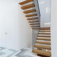 Buy cheap High quality indoor floating solid wood tread open stairs/staircases product