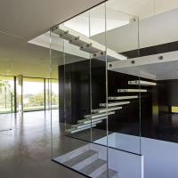 Buy cheap Prefab house floating stair / metal stringer glass  railing outdoor wood stairs product