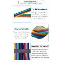 High Quality Custom Color Rainbow Stripe Jacquard Webbing Elastic Band