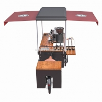 Buy cheap Anti Oil Box Structure Wood Tricycle Coffee Vending Cart product
